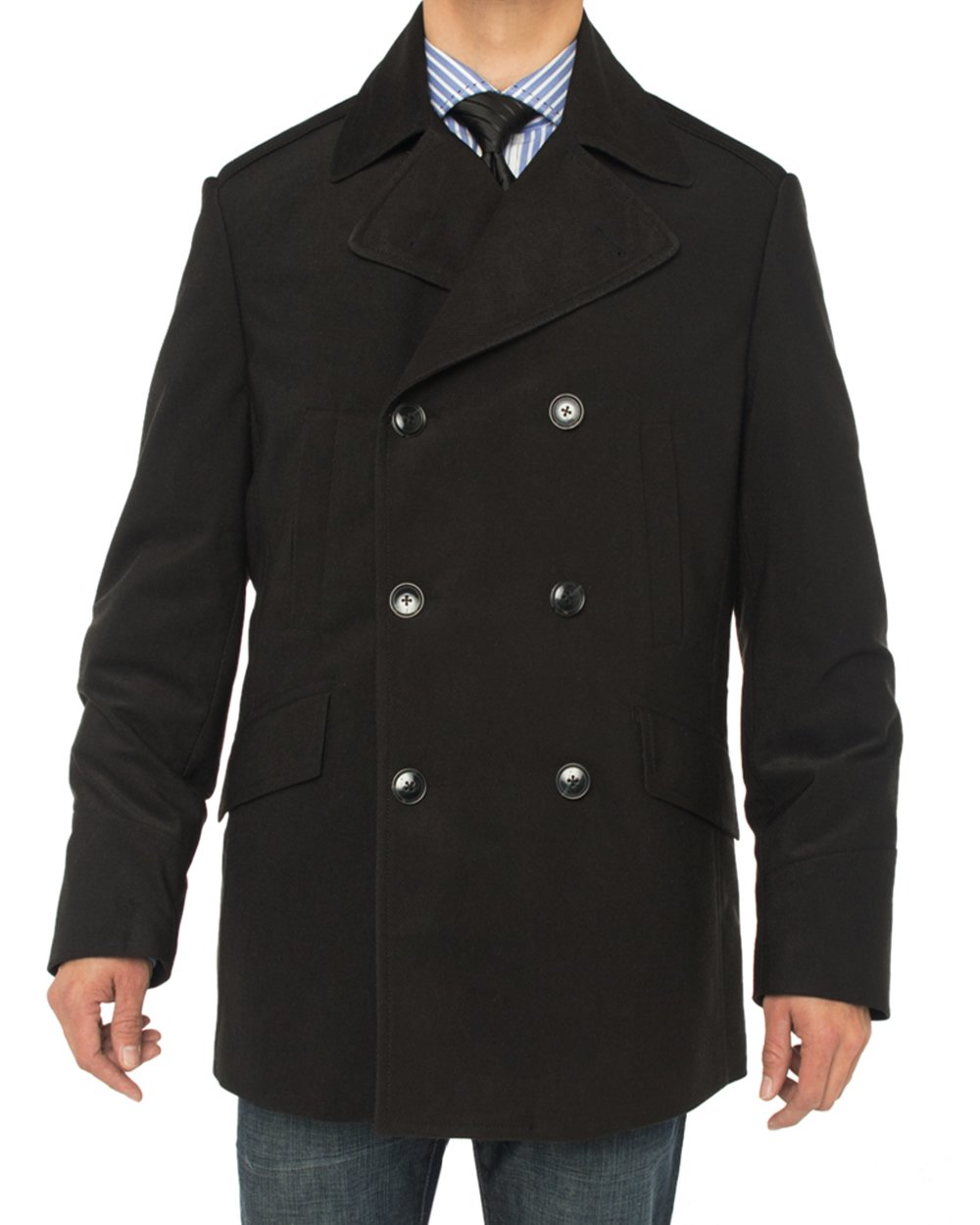 Luciano Natazzi Men's Double Breasted Top Coat Modern Fit Pea Coat (42 US - 52 EU, Black) by Luciano Natazzi