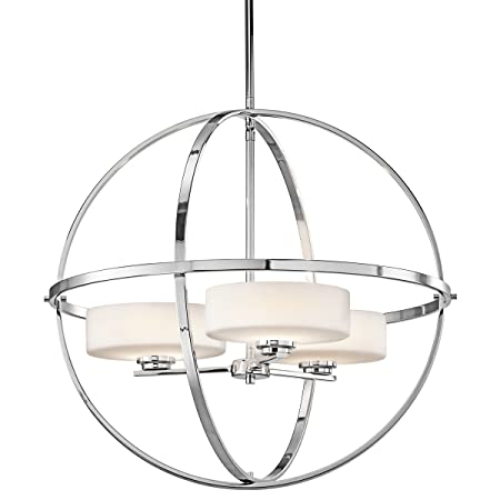 Kichler 42505CH, Olsay 1 Tier Chandelier Lighting, 3 Light, 150 Total Watts Halogen, Chrome