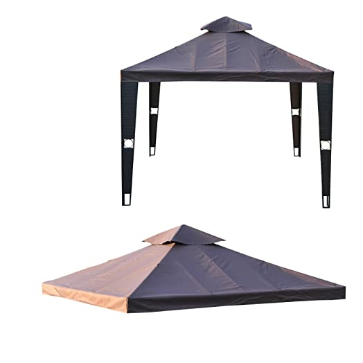 Outsunny 3 X 3m Metal Gazebo Top Replacement Double Tier Canopy Pavilion Sun Shade Roof Cover