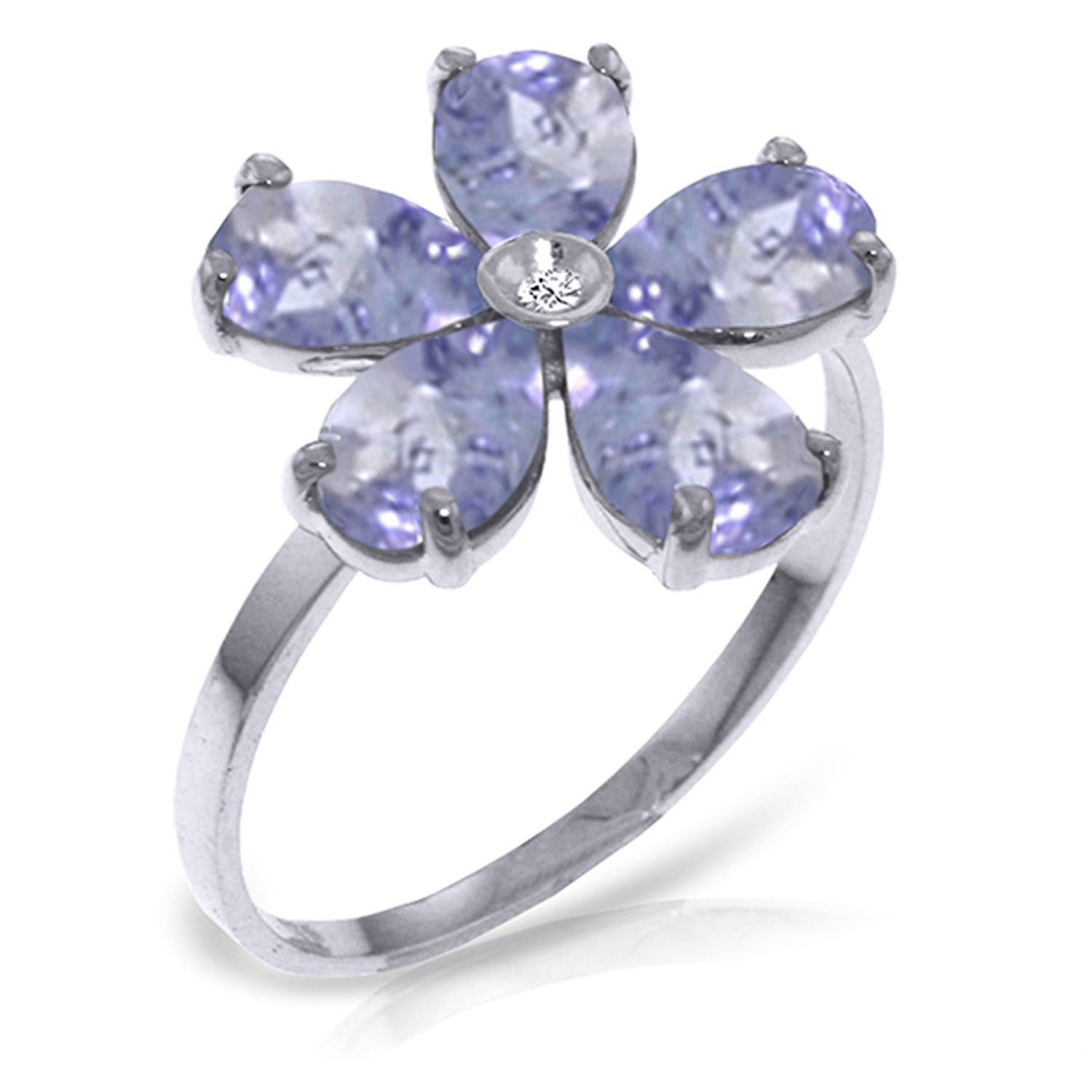 ALARRI 2.22 CTW 14K Solid White Gold Love w/ out Demands Tanzanite Diamond Ring With Ring Size 5