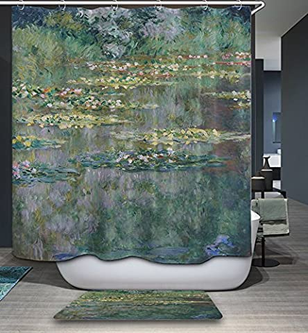 HMWR Waterproof Mildew-Resistant Bath Shower Curtain Vintage Art Monet Oil Painting Water Lilies Polyester Bathroom Shower Curtain - Plastic Lily Tub