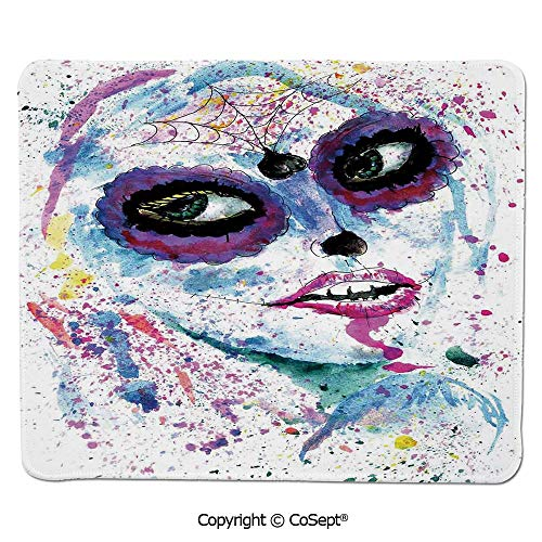 Non-Slip Rubber Base Mousepad,Grunge Halloween Lady with Sugar Skull Make Up Creepy Dead Face Gothic Woman Artsy,Non-Slip Water-Resistant Rubber Base Cloth Computer Mouse Mat (11.81