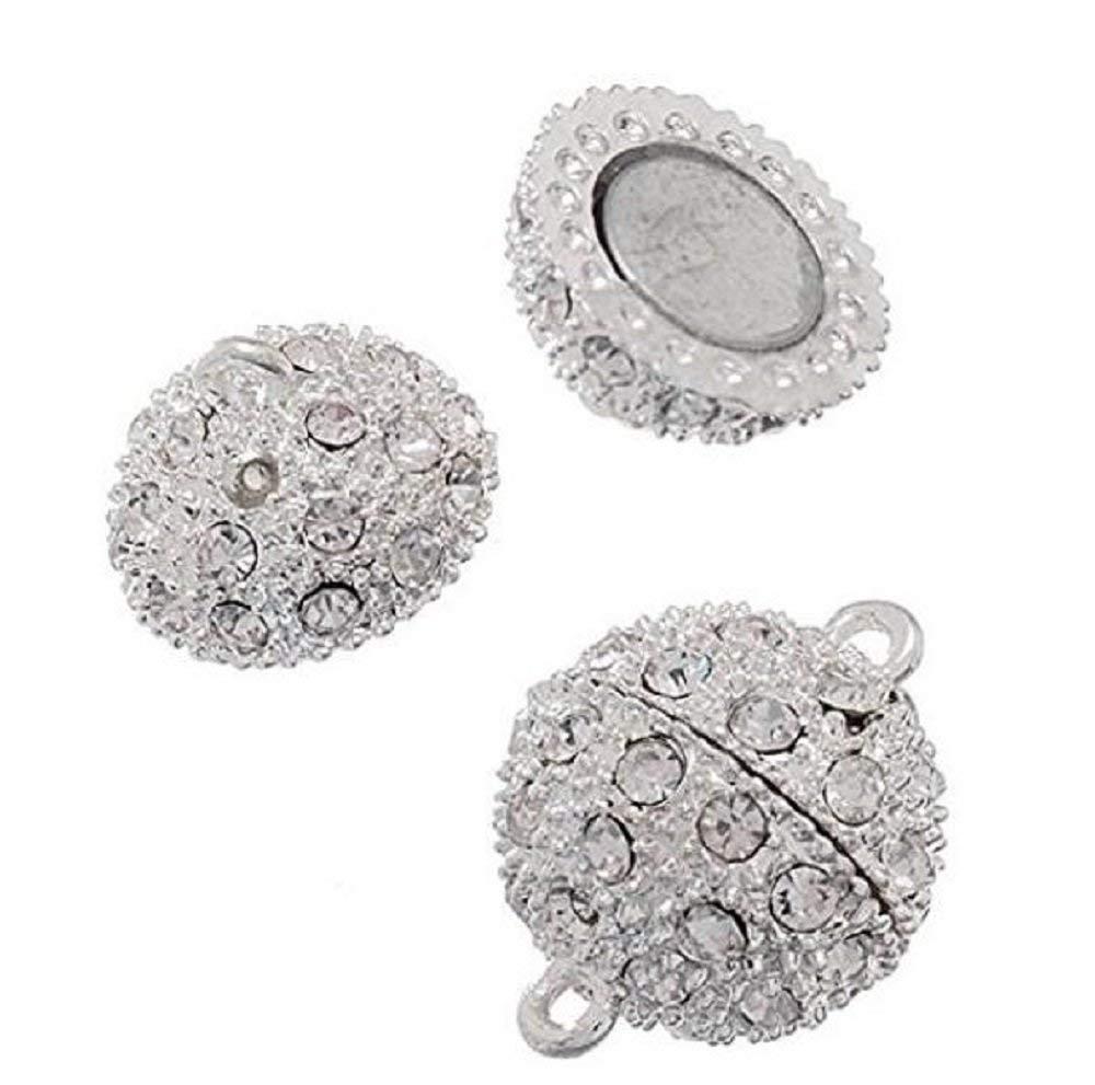 TuDu Plaqu/é Argent 5/pcs Cristal Style Shamballa Strass Pave Boule magn/étique Perles Fermoir Bracelet Collier Bijoux 10/mm