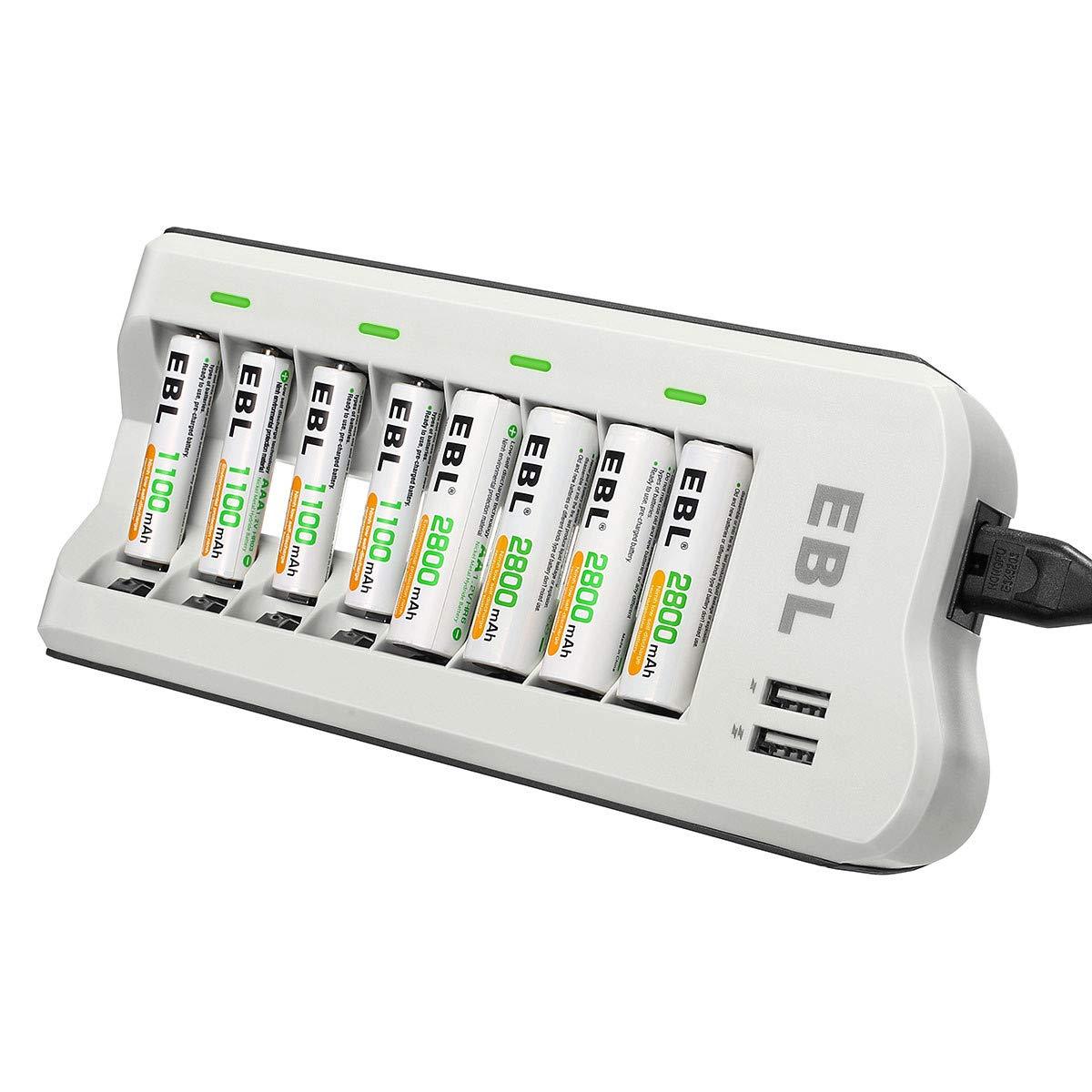 EBL Akkuladegerät 8 Stecker mit 2 USB Port für AA AAA NI-MH Akku inkl. Batterien ladegerät mit 4*AA 2800mAh und 4*AAA Akkus1100mAh