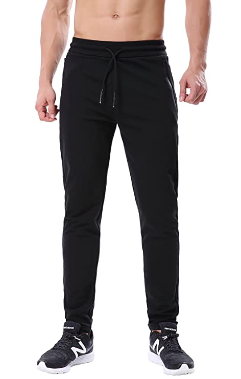 23e1a9b642ed ChinFun Men s Tapered Fit Athletic Running Pants Slim Fit Jogger Sweatpants  Non-Fleece Zipper Pockets