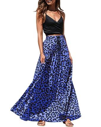 78a5105c04de98 Umeko Womens Leopard Print Long Skirt High Waisted Drawstring Summer Boho  Maxi Skirts Blue