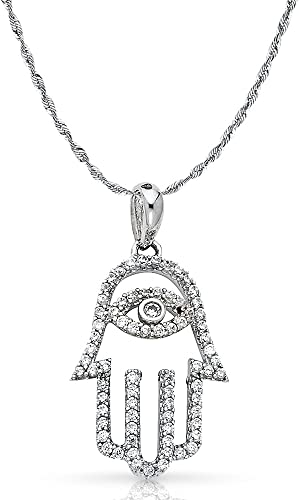 14K White Gold Cubic Zirconia CZ Cross Charm Pendant with 1.5mm Rope Chain Necklace
