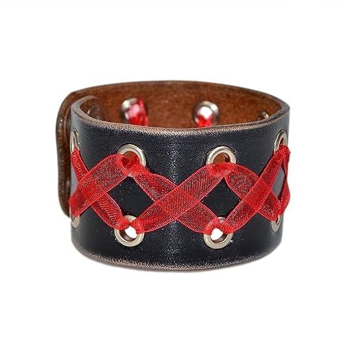 acd7b182e70a8 Amazon.com: Black Leather Wide Bracelet / Leather Bracelet, Leather ...