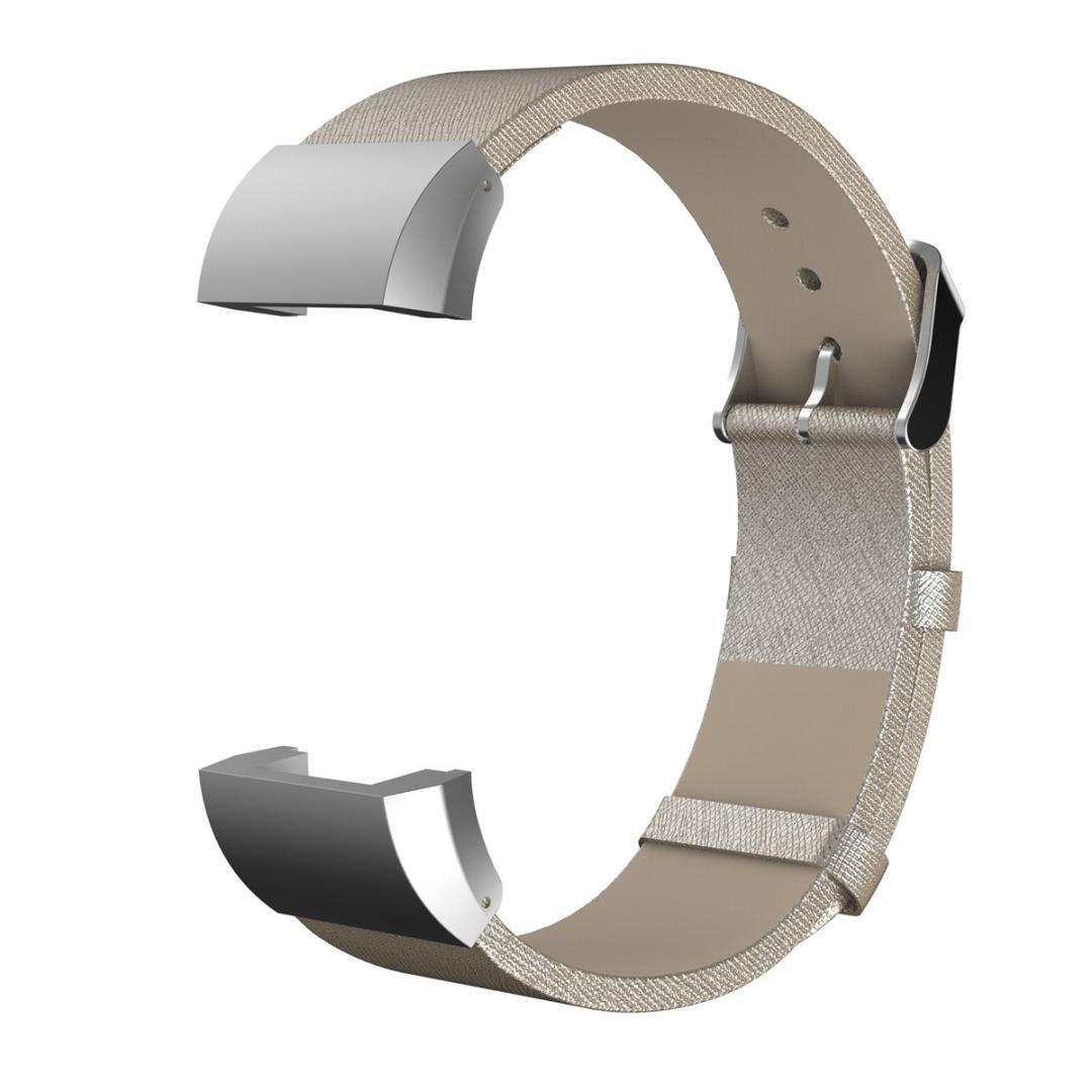 AloneAファッションスポーツ本革ブレスレットストラップバンド+ Film for Fitbit Charge 2 ゴールド ゴールド B01M64YLKV