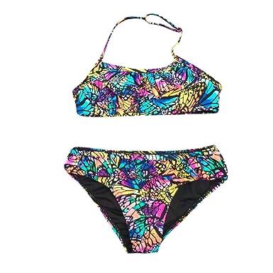 Mitlfuny Bañador Conjuntos Ropa bebé Traje de Baño Niña Playa Piscina Dividir Bikini Mariposa Impresión Cuello Halter Nadando Bañador Cintura Alta Inferior ...