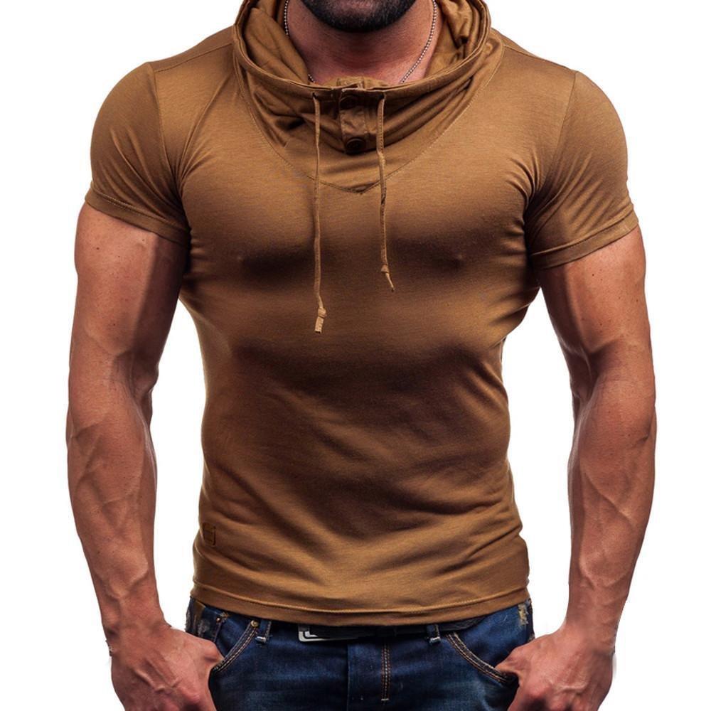 VIASA_ Men's Pullover Coat, Men Dress Shirts Short Sleeve T-Shirt Solid Blouse Hoodie (Brown, 2XL)