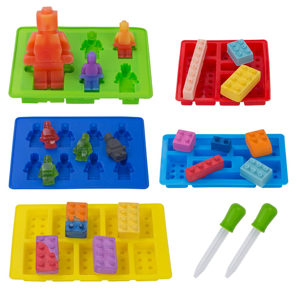 5 Pack Silicone Chocolate Candy Molds, Minifigure and Building Brick Molds for Fondant Ice Cube Crayon Jello Gummy Cake Baking Cupcake Decoration by webake