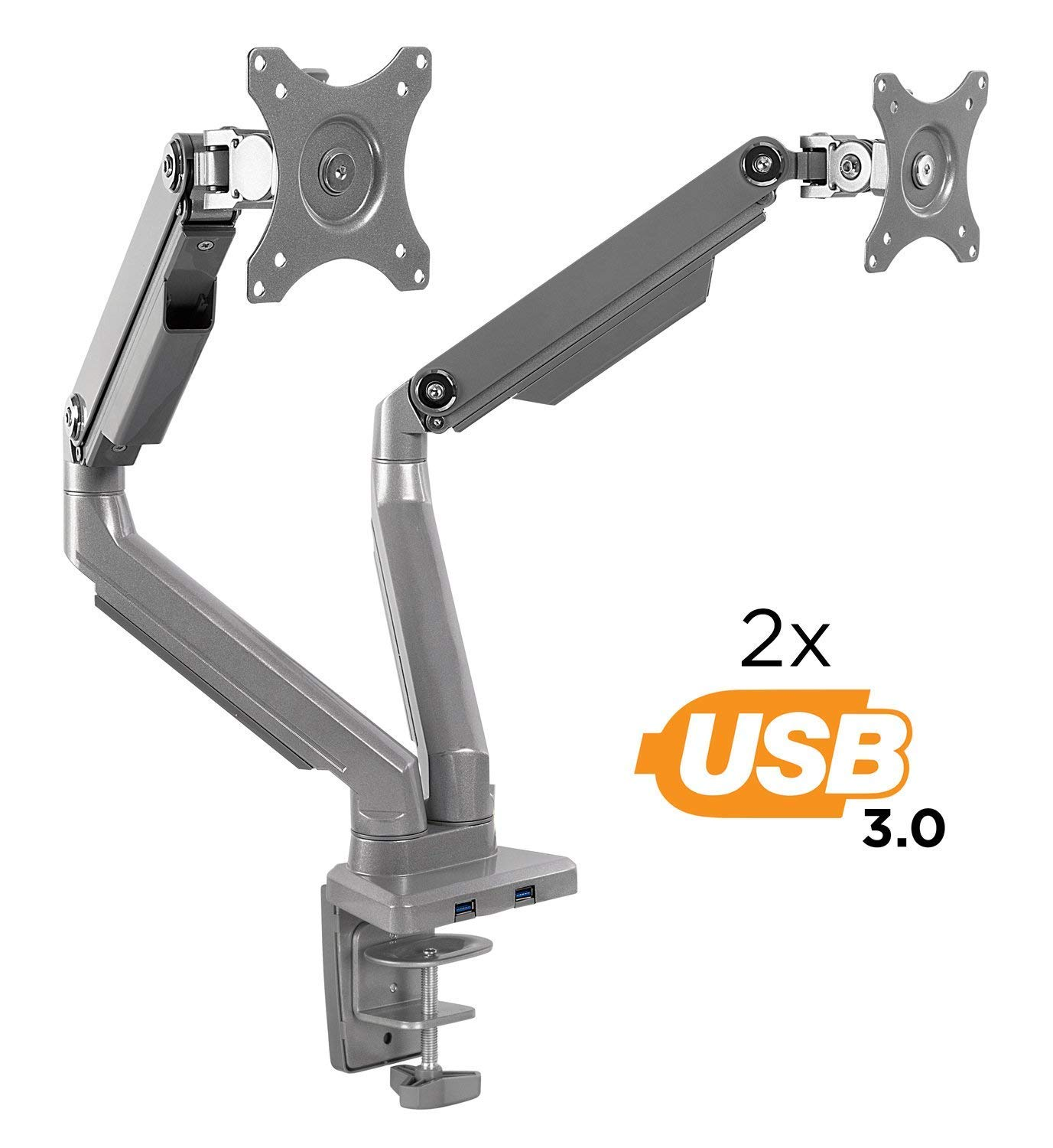 Mount-It! Dual Monitor Arm Mount Desk Stand | 2 x 3.0 USB Ports | Articulating Mechanical Spring Height Adjustable | Fits Two 24 27 29 30 32 Inch VESA 75 100 Compatible Screens | C-Clamp and Grommet