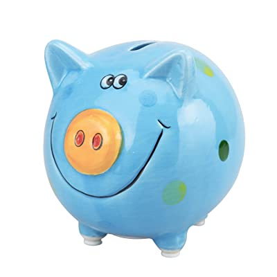 VANVENE Lovely Pig Piggy Bank for Boy and Girls, Coin Bank Money Bank, Best Birthday for Kids, Home Decoration, Favorite Unique Baby Gift Idea (Blue): Toys & Games
