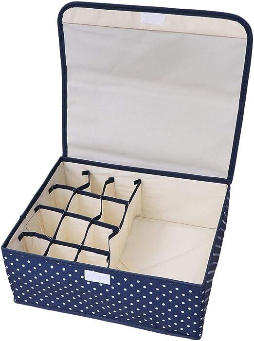 Caja de almacenamiento impermeable Oxford de tela para ropa interior, 13 rejillas, lavable, plegable, organizador de clóset para ahorrar espacio (lunares): Amazon.es: Amazon.es
