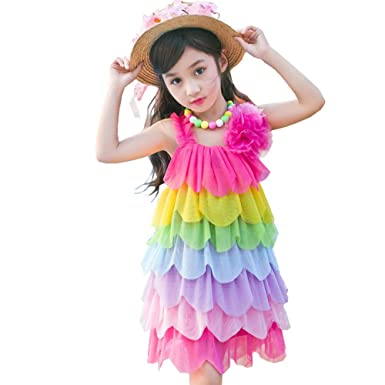 78143b0ff0 Amazon.com  Cossky Girls Holiday Dress Vacation Rainbow Dresses ...