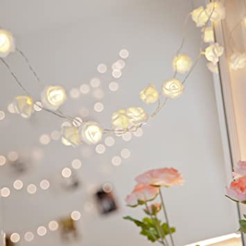 Amazon 20led warm white rose flower fairy string lights 75 20led warm white rose flower fairy string lights 75 feet clear cable battery powered for valentines mightylinksfo