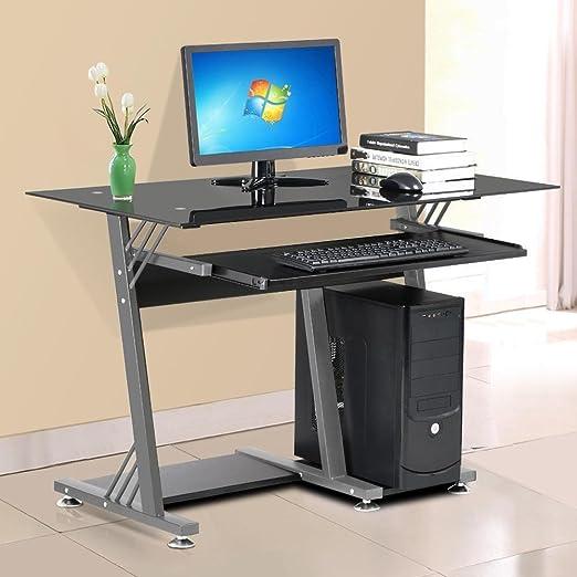 chinkyboo - Z alto brillo cristal negro mesa de ordenador PC ...