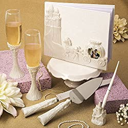 Fairytale Design / Cinderella Themed Wedding Accessory Set Including Flute Set, Cake Knife Set, and Pen