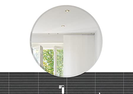 Fab Glass and Mirror 24 Inch Round Beveled Polished Frameless Wall Mirror with Hooks, Silver