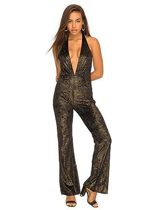 3d4511854a Motelrocks - Floyd Jumpsuit in Velvet Gold Shimmer by Motel  Amazon.co.uk   Clothing