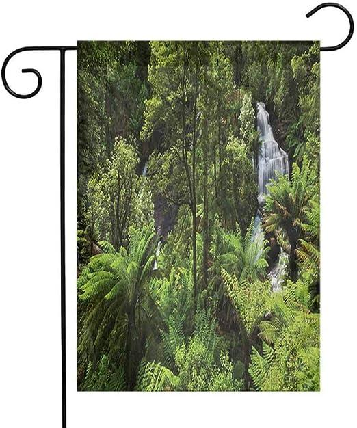 Eastlif Exquisito Jardín Bandera Selva Selva con Cascada Río Atracción Turística Tierras Tropicales Verde Decoración Zen Bienvenido Decoración Jardín Verde: Amazon.es: Jardín
