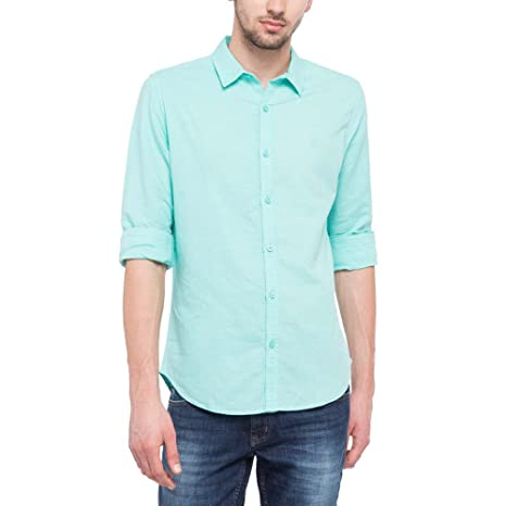 19729ca08c65d4 United Colors of Benetton Men s Solid Slim Fit Casual Shirt Casual Shirts  from amazon in Apparels