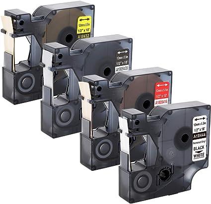 4/x DYMO 18444/Rhino industriale nastro etichette autoadesive in vinile 12/mm compatibile con Rhino 1000/3000/4200/5000/5200/6000 nero su bianco