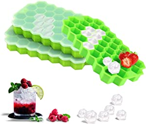 Ice Cube Trays 3 Pack - Food grade silicone mold with removable lid&Cover for freezer Flexible 74-Ice Trays Whikskey&cocktails Beverages tray stackable reusable durable molds Green