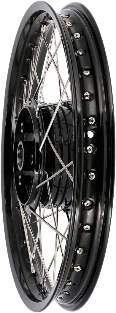 Fez Speichenrad 1 5 X 16 Alufelge Schwarz Eloxiert Edelstahlspeichen Für Simson S51 S50 Kr51 Schwalbe Sr4 Auto