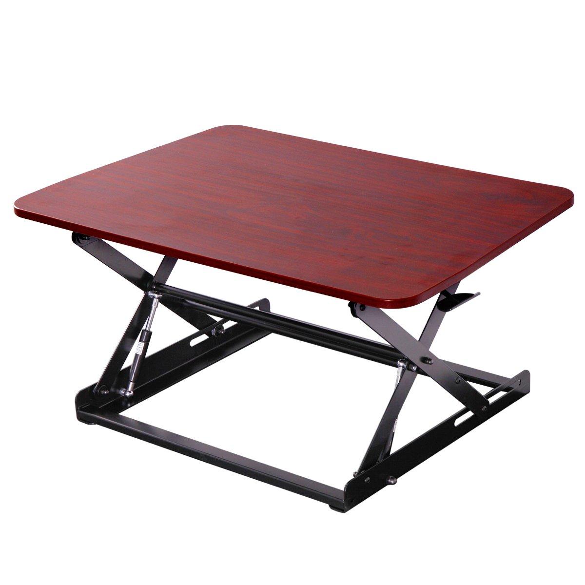Ergonomic 30'' Wide Preassembled Height Adjustable Standing Desk Riser/ Stand Workstation Elevating Desktop Removable Keyboard Tray, Cherry