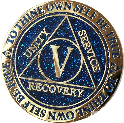 - 5 Year AA Medallion Reflex Blue Glitter Gold Plated Color Chip