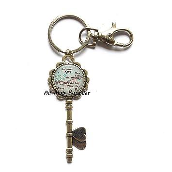 Marathon Florida Map.Amazon Com Charming Key Keychain Florida Keys Map Key Key Ring