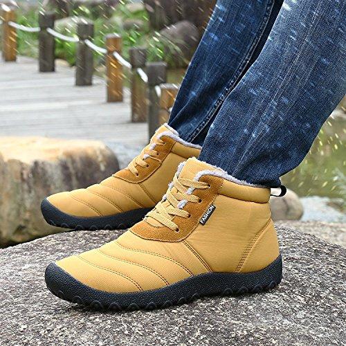 Minetom Winter Herren Damen Winterschuhe Warm Sport Sneakers Stiefel Kurz Schnür Outdoor Freizeit Schuhe Schneestiefel Gefüttert Boots Gelb