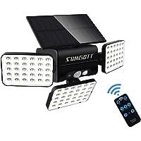 SUMGOTT Luz solar para exteriores con control remoto, luz de seguridad con sensor de movimiento, foco LED 90, luz de…