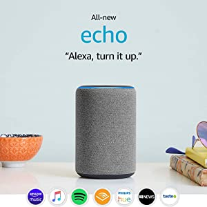 All-new Echo (3rd Gen) - Smart speaker with Alexa - Heather Grey Fabric