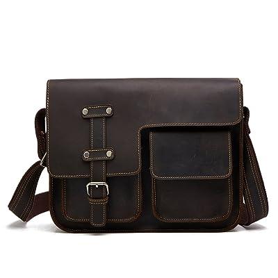 TOREEP Mens Real Leather Messenger Bag for Laptop Briefcase Satchel