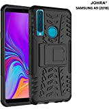 Johra Dual Layer Armor Kick Stand Shockproof Silicone Defender Hard Cover for Samsung Galaxy A9 2018 (Black)