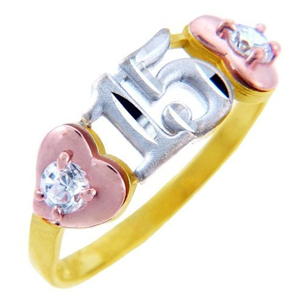 10K 15 A/ños Ring Quinceanera Heart Ring with Cubic Zirconia