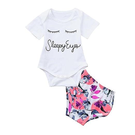 43b1d1e36df Hatoys 2PC Infant Toddler Baby Boy Girl Eyelash Print Romper+Shorts  Briefs