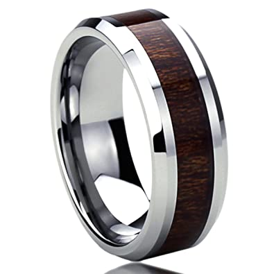 8MM Titanium Mens Womens Rings Wood Grain Inlay Comfort Fit Beveled Edges Wedding Bands SZ