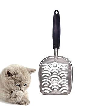Pawaca Pala de arena para gatos, duradera pala de metal antiadherente para arena de gato - 1 minuto para limpiar la caja - lados antiaspersión para un fácil ...