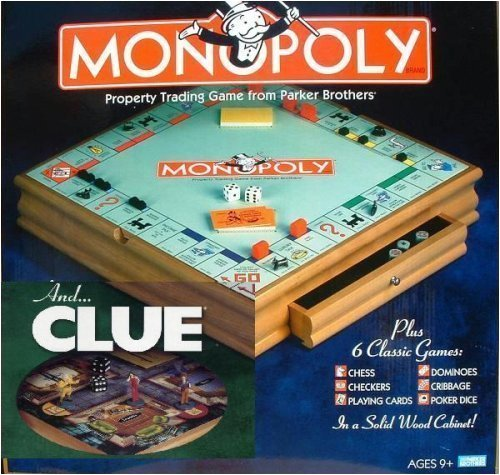Parker Brother Hasbro Wooden Board Games, Monopoly, Clue Plus 6 Other Board Games (Wood Monopoly)