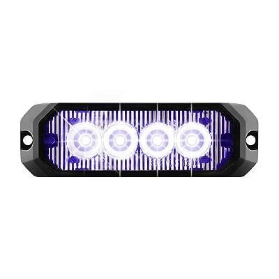 "GG Grand General 81806 Blue/Clear LED Strobe Light (4"" Rectangle 4, 14 Modes, 9~36V): Automotive"