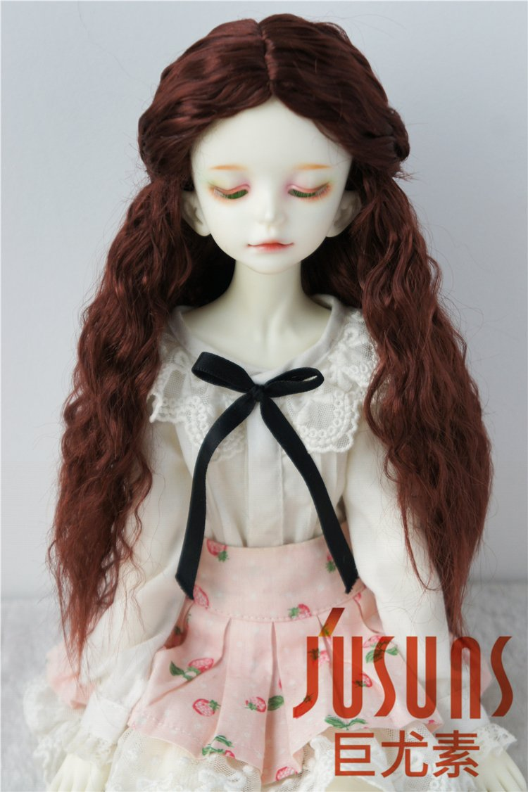 JD119 7-8inch 18-20CM Long curly princess doll wigs 1/4 MSD synthetic mohair BJD wigs Vinyl doll accessories (Wine red)