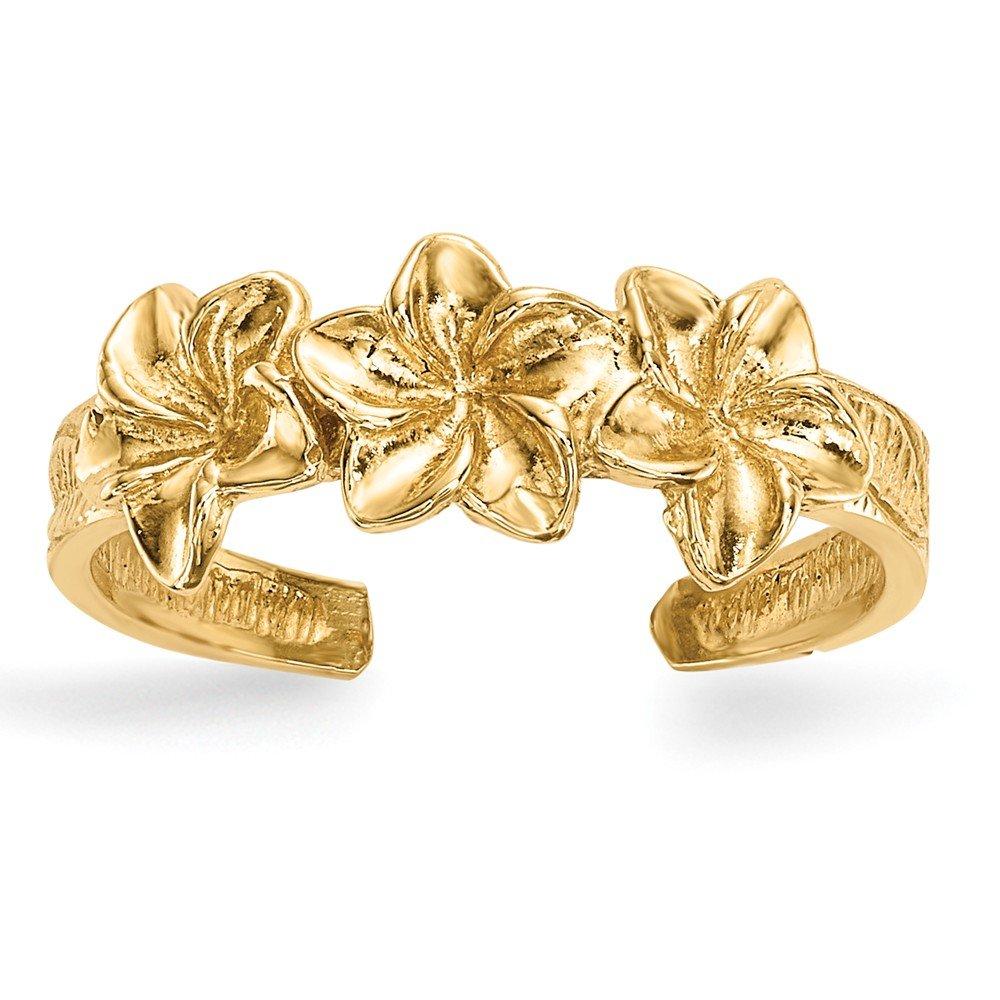 Black Bow Jewelry 14k Yellow Gold 6mm Triple Flower Toe Ring