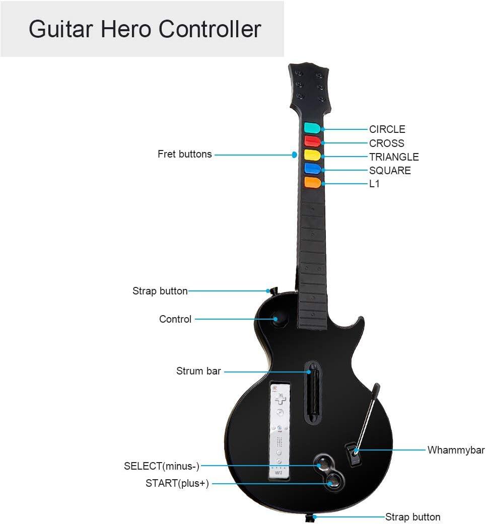 DOYO Negro Wii Guitar, Controlador de Guitarra Wii desmontable ...