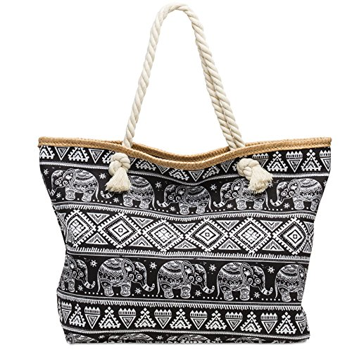 Negro Shopper de Elefantes Playa de Mujer para Estampado con TS1042 Bolso CASPAR Bolso XL de Mano wRTvFZ