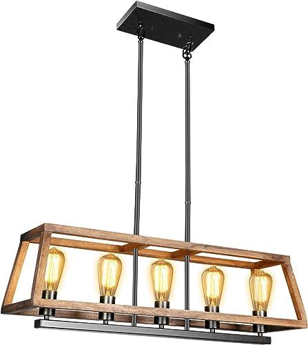 Rustic Wood Kitchen Island Lighting – with 5 Bulbs Adjustable Rectangle Metal Hanging Ceiling Light