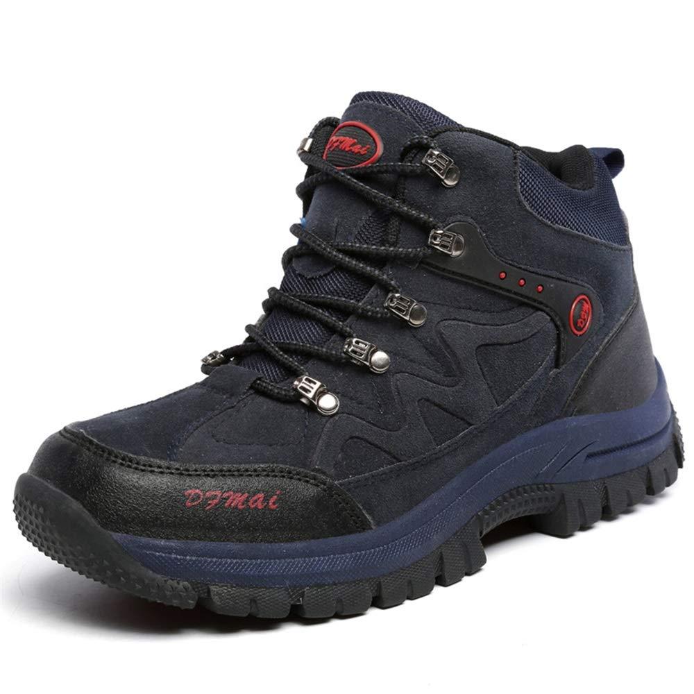 Qiusa Schnüren Sie Sich wandernde Knöchel-Schuhe für Männer Rutschfeste dauerhafte schlagfeste Schuhe im Freien (Farbe   Schwarz, Größe   EU 43)